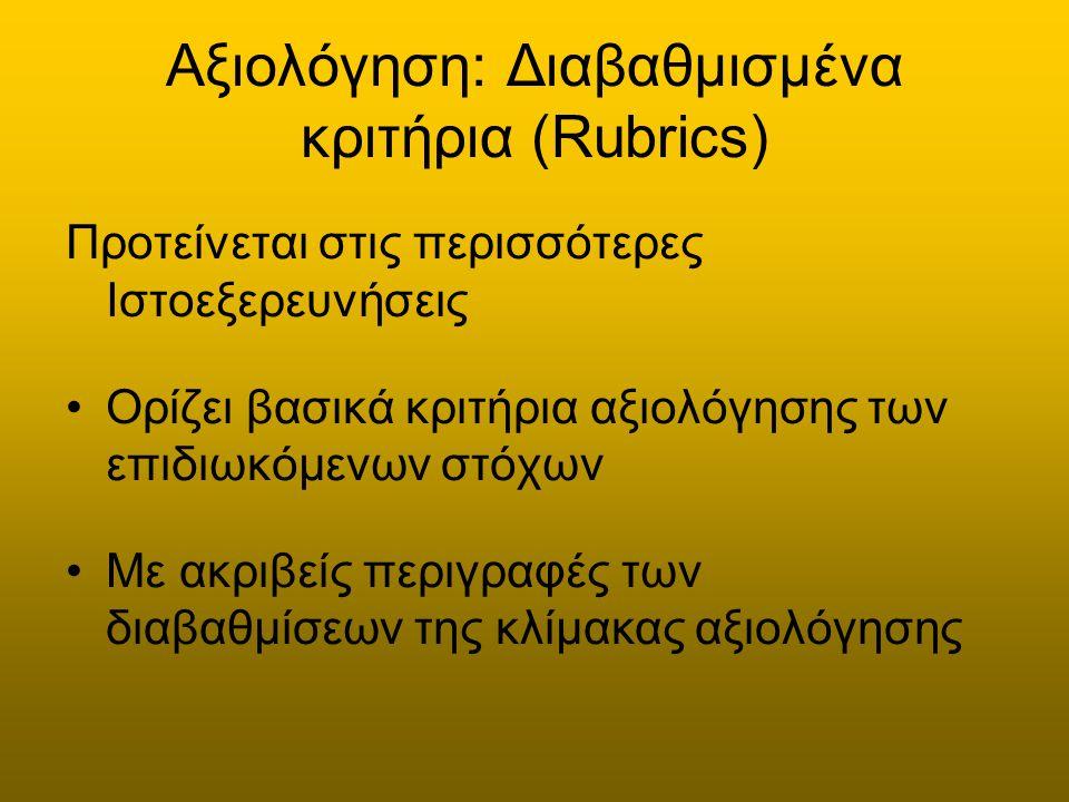 Αξιολόγηση: Διαβαθμισμένα κριτήρια (Rubrics) Προτείνεται στις περισσότερες Ιστοεξερευνήσεις Ορίζει βασικά κριτήρια αξιολόγησης των επιδιωκόμενων στόχων Με ακριβείς περιγραφές των διαβαθμίσεων της κλίμακας αξιολόγησης