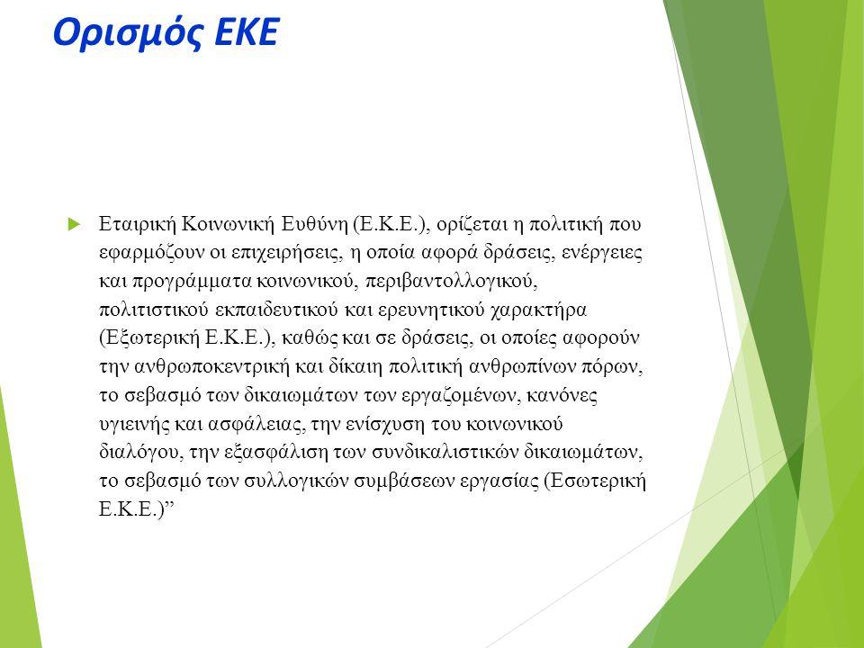 Ορισμός ΕΚΕ  Εταιρική Κοινωνική Ευθύνη (Ε.Κ.Ε.), ορίζεται η πολιτική που εφαρμόζουν οι επιχειρήσεις, η οποία αφορά δράσεις, ενέργειες και προγράμματα