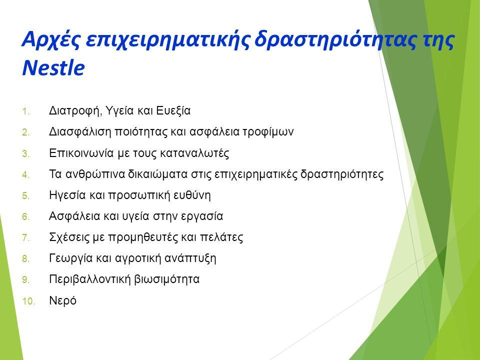 Αρχές επιχειρηματικής δραστηριότητας της Nestle 1. Διατροφή, Υγεία και Ευεξία 2. Διασφάλιση ποιότητας και ασφάλεια τροφίμων 3. Επικοινωνία με τους κατ