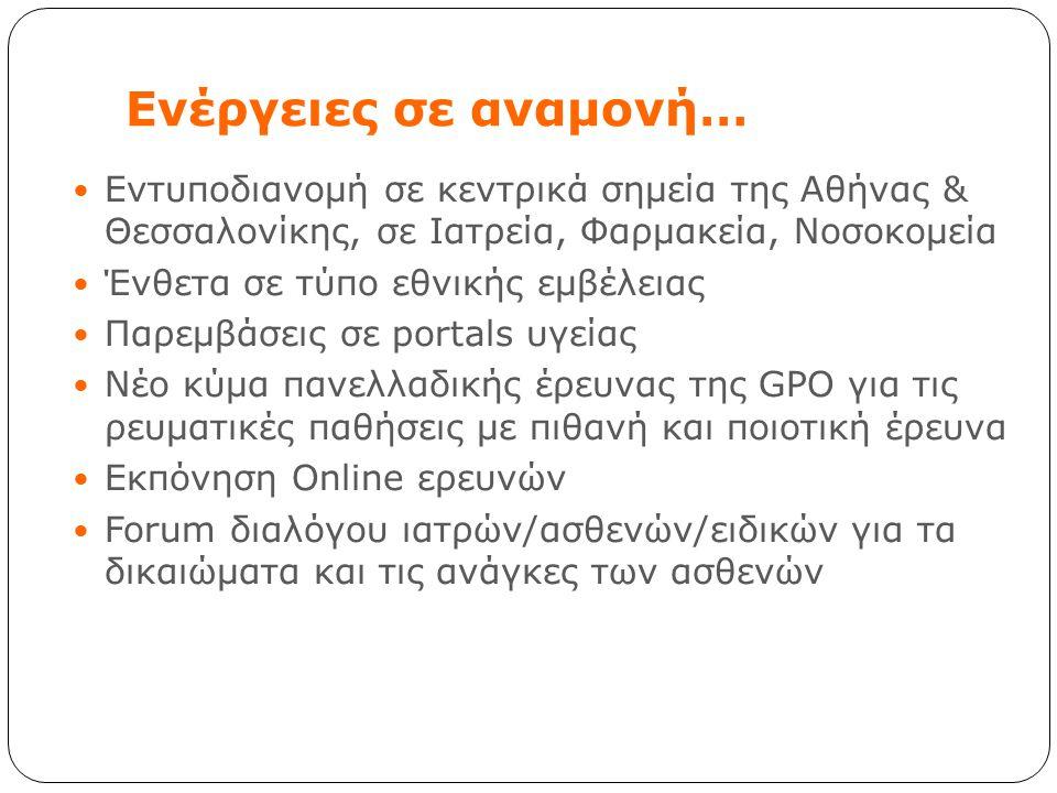 Ενέργειες σε αναμονή… Εντυποδιανομή σε κεντρικά σημεία της Αθήνας & Θεσσαλονίκης, σε Ιατρεία, Φαρμακεία, Νοσοκομεία Ένθετα σε τύπο εθνικής εμβέλειας Π
