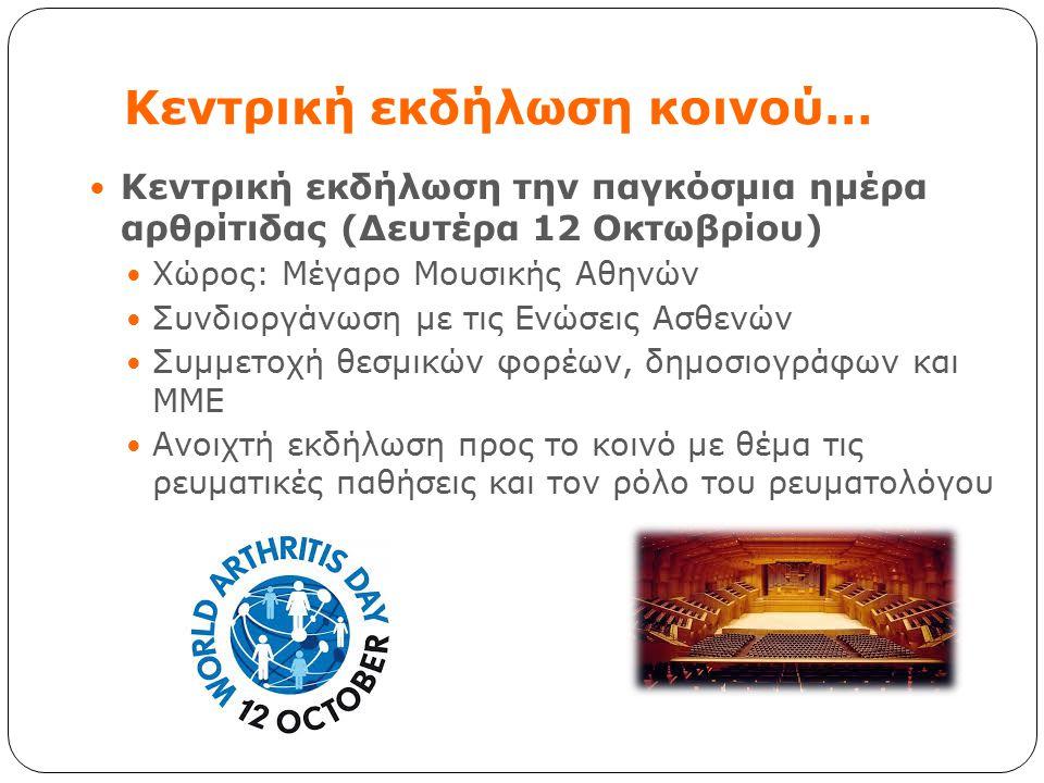 Κεντρική εκδήλωση κοινού… Κεντρική εκδήλωση την παγκόσμια ημέρα αρθρίτιδας (Δευτέρα 12 Οκτωβρίου) Χώρος: Μέγαρο Μουσικής Αθηνών Συνδιοργάνωση με τις Ε