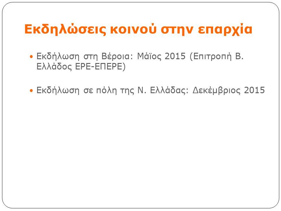 Eκδηλώσεις κοινού στην επαρχία Εκδήλωση στη Βέροια: Μάϊος 2015 (Επιτροπή Β. Ελλάδος ΕΡΕ-ΕΠΕΡΕ) Εκδήλωση σε πόλη της Ν. Ελλάδας: Δεκέμβριος 2015