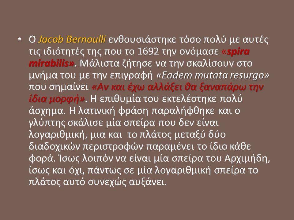 Jacob Bernoulli spira mirabilis» «Eadem mutata resurgo» «Αν και έχω αλλάξει θα ξαναπάρω την ίδια μορφή» Ο Jacob Bernoulli ενθουσιάστηκε τόσο πολύ με αυτές τις ιδιότητές της που το 1692 την ονόμασε «spira mirabilis».