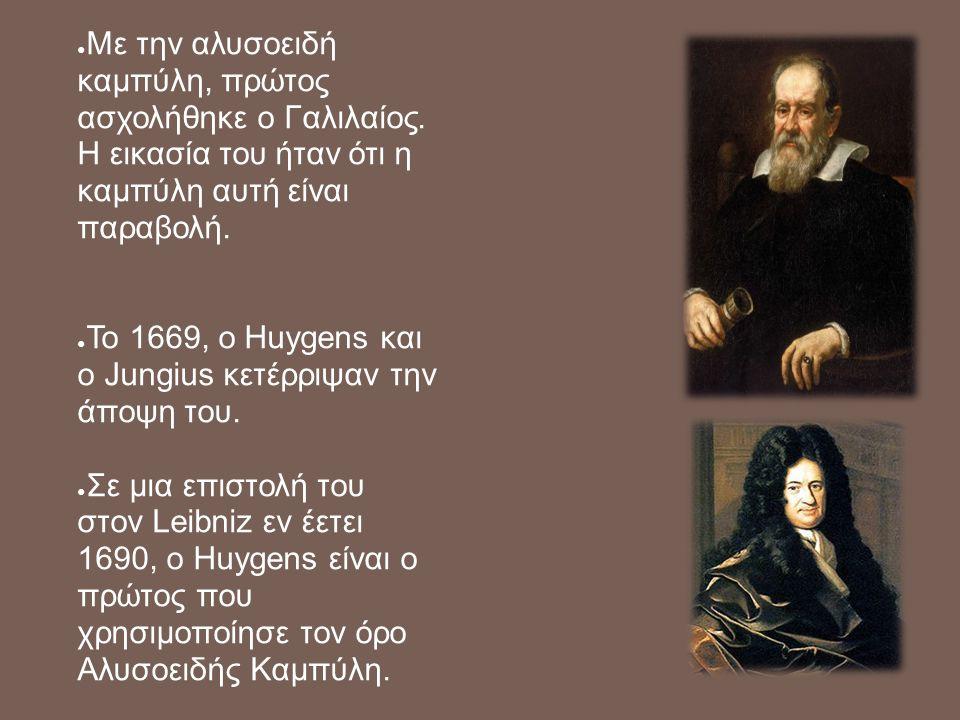 ● Με την αλυσοειδή καμπύλη, πρώτος ασχολήθηκε ο Γαλιλαίος. Η εικασία του ήταν ότι η καμπύλη αυτή είναι παραβολή. ● Το 1669, ο Huygens και ο Jungius κε