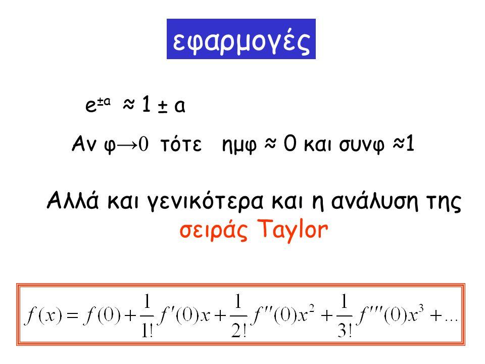 εφαρμογές Αν φ →0 τότε ημφ ≈ 0 και συνφ ≈1 Αλλά και γενικότερα και η ανάλυση της σειράς Taylor e ±a ≈ 1 ± a