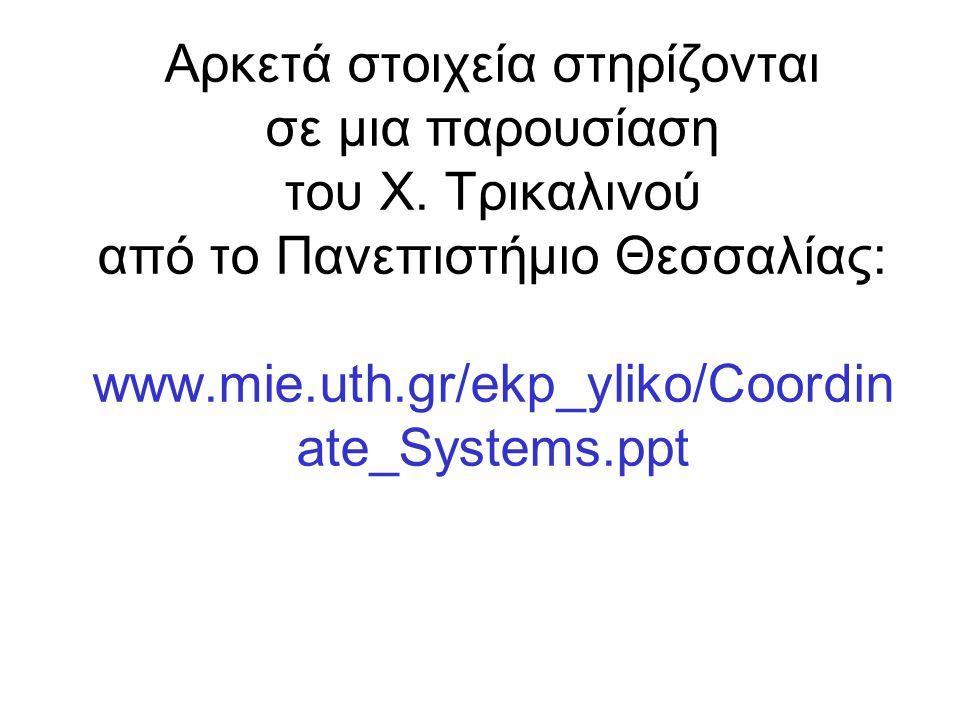 Αρκετά στοιχεία στηρίζονται σε μια παρουσίαση του Χ. Τρικαλινού από το Πανεπιστήμιο Θεσσαλίας: www.mie.uth.gr/ekp_yliko/Coordin ate_Systems.ppt