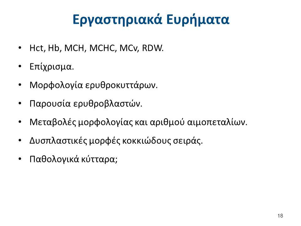 Εργαστηριακά Ευρήματα Hct, Hb, MCH, MCHC, MCv, RDW. Επίχρισμα. Μορφολογία ερυθροκυττάρων. Παρουσία ερυθροβλαστών. Μεταβολές μορφολογίας και αριθμού αι