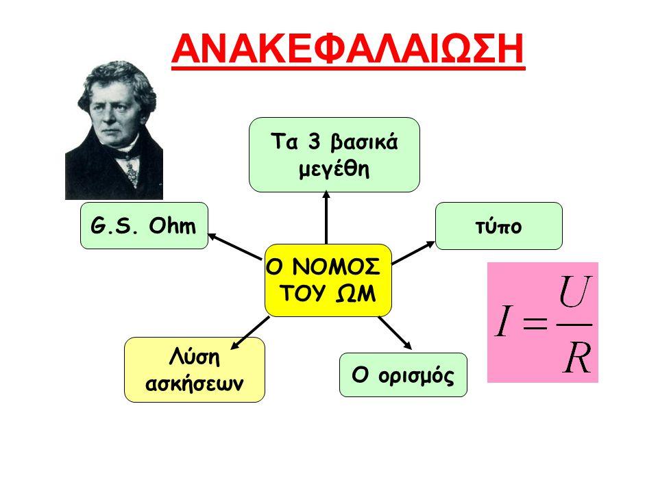 ΑΝΑΚΕΦΑΛΑΙΩΣΗ τύπο Τα 3 βασικά μεγέθη Ο ΝΟΜΟΣ ΤΟΥ ΩΜ Ο ορισμός G.S. Ohm Λύση ασκήσεων