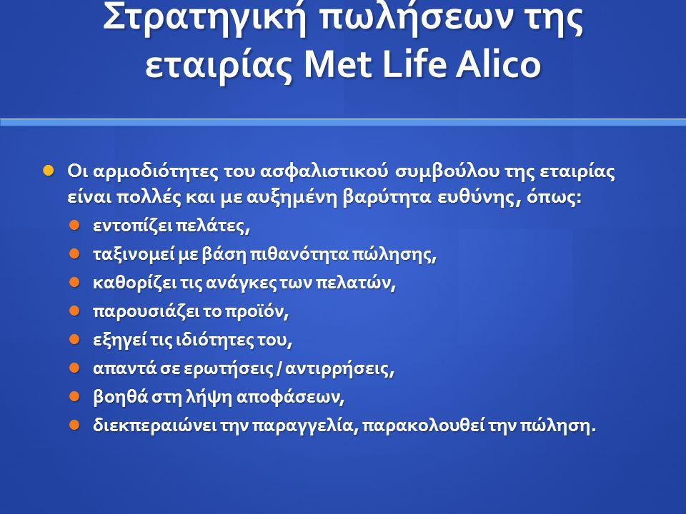 Στρατηγική πωλήσεων της εταιρίας Met Life Alico Οι αρμοδιότητες του ασφαλιστικού συμβούλου της εταιρίας είναι πολλές και με αυξημένη βαρύτητα ευθύνης,