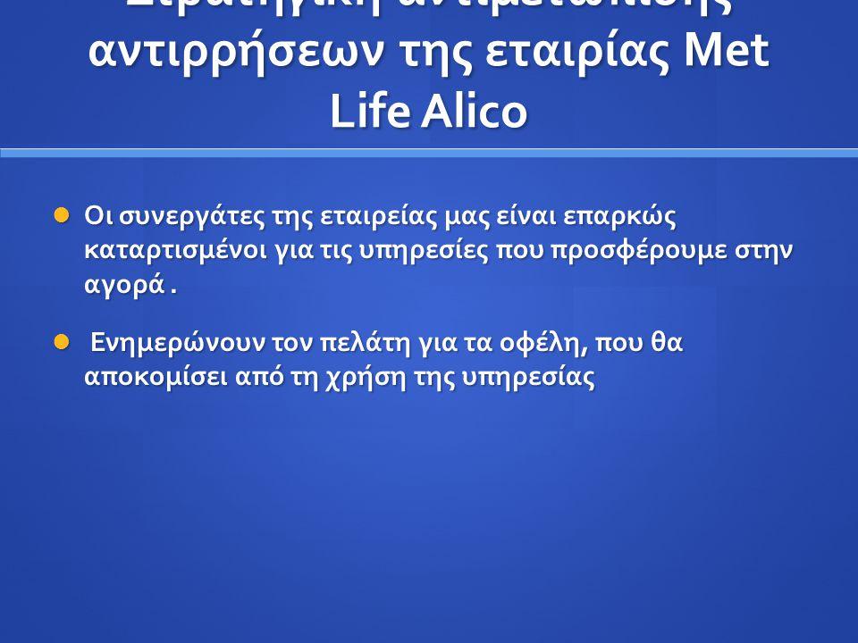 Στρατηγική αντιμετώπισης αντιρρήσεων της εταιρίας Met Life Alico Οι συνεργάτες της εταιρείας μας είναι επαρκώς καταρτισμένοι για τις υπηρεσίες που προ