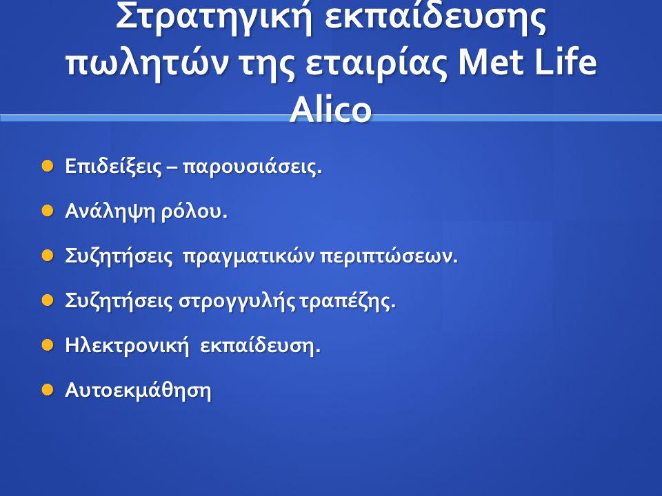Στρατηγική εκπαίδευσης πωλητών της εταιρίας Met Life Alico Επιδείξεις – παρουσιάσεις. Επιδείξεις – παρουσιάσεις. Ανάληψη ρόλου. Ανάληψη ρόλου. Συζητήσ