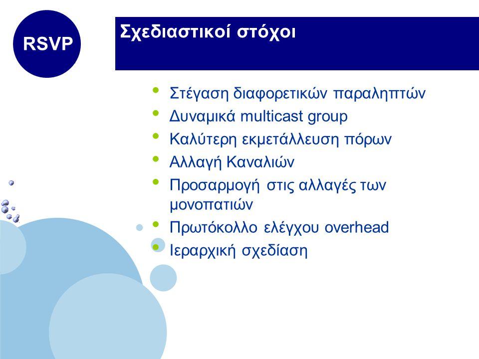 www.company.com Company LOGO Σχεδιαστικοί στόχοι Στέγαση διαφορετικών παραληπτών Δυναμικά multicast group Καλύτερη εκμετάλλευση πόρων Αλλαγή Καναλιών Προσαρμογή στις αλλαγές των μονοπατιών Πρωτόκολλο ελέγχου overhead Ιεραρχική σχεδίαση RSVP