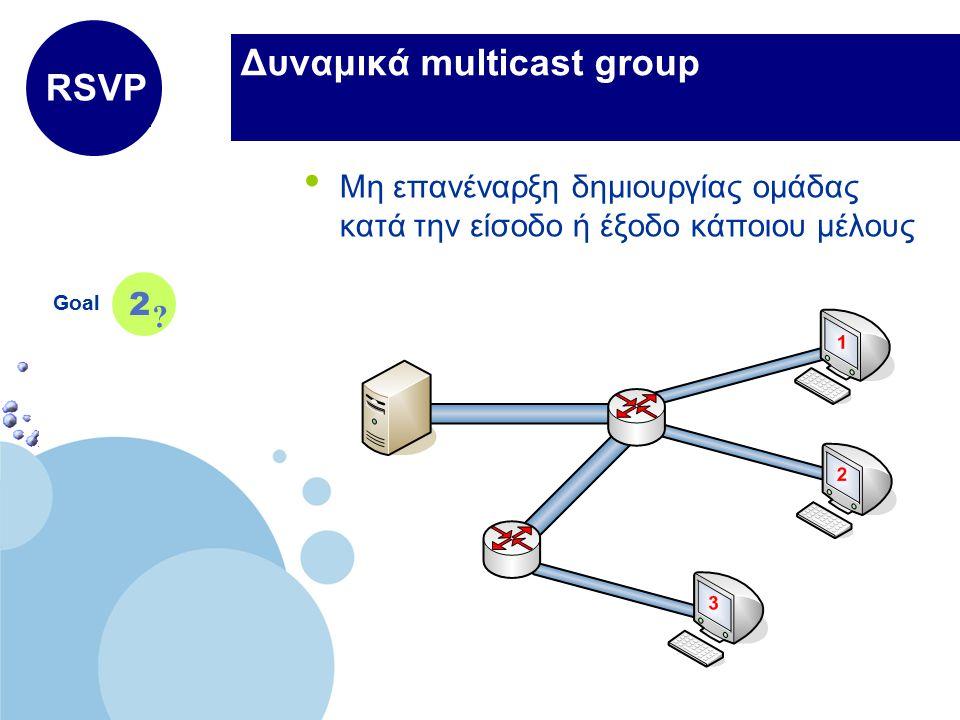 www.company.com Company LOGO Δυναμικά multicast group Μη επανέναρξη δημιουργίας ομάδας κατά την είσοδο ή έξοδο κάποιου μέλους Goal 2 RSVP