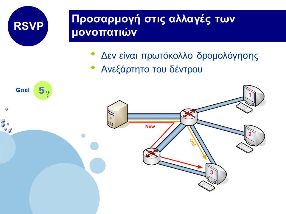 www.company.com Company LOGO Προσαρμογή στις αλλαγές των μονοπατιών Δεν είναι πρωτόκολλο δρομολόγησης Ανεξάρτητο του δέντρου Goal 5 RSVP