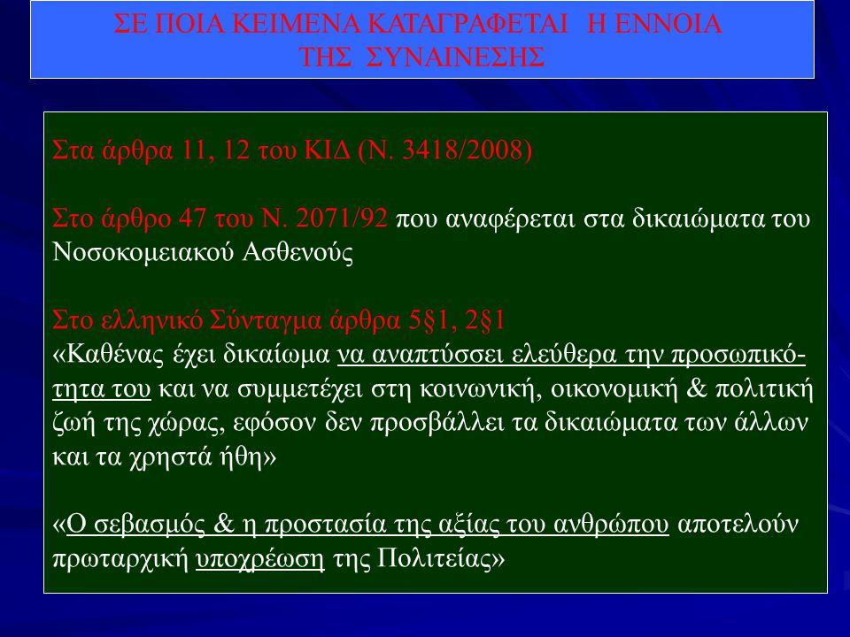 ΣΕ ΠΟΙΑ ΚΕΙΜΕΝΑ ΚΑΤΑΓΡΑΦΕΤΑΙ Η ΕΝΝΟΙΑ ΤΗΣ ΣΥΝΑΙΝΕΣΗΣ Στα άρθρα 11, 12 του ΚΙΔ (Ν. 3418/2008) Στο άρθρο 47 του Ν. 2071/92 που αναφέρεται στα δικαιώματα