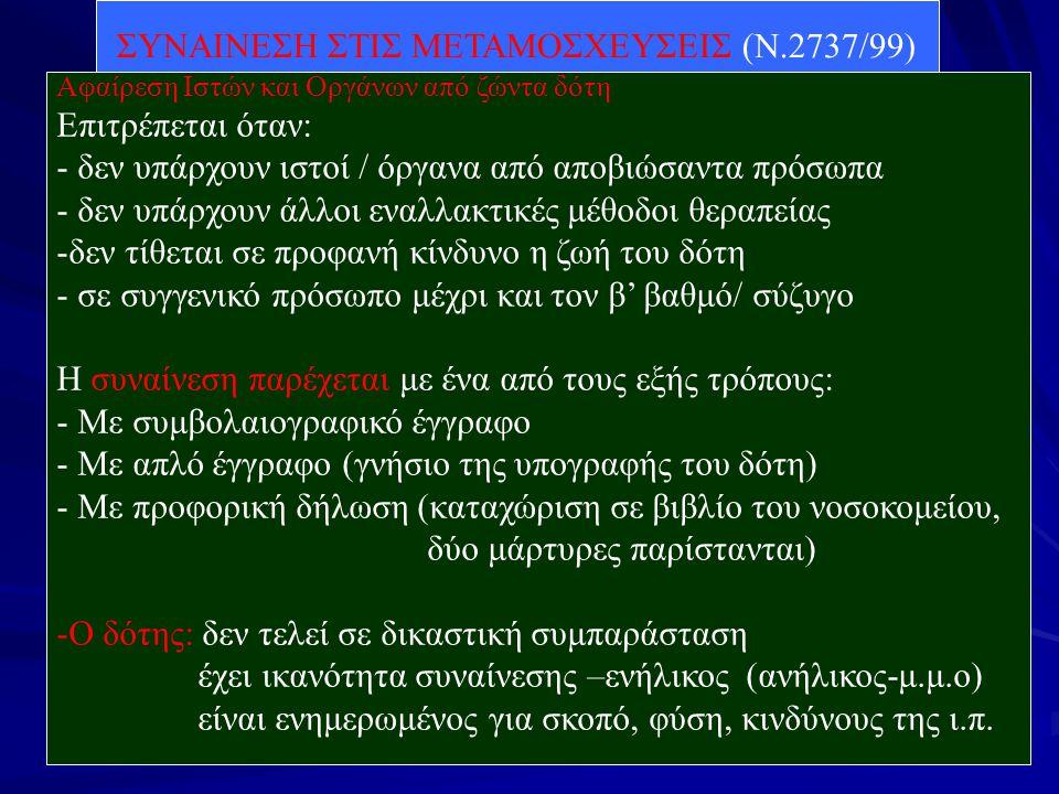 ΣΥΝΑΙΝΕΣΗ ΣΤΙΣ ΜΕΤΑΜΟΣΧΕΥΣΕΙΣ (Ν.2737/99) Αφαίρεση Ιστών και Οργάνων από ζώντα δότη Επιτρέπεται όταν: - δεν υπάρχουν ιστοί / όργανα από αποβιώσαντα πρ