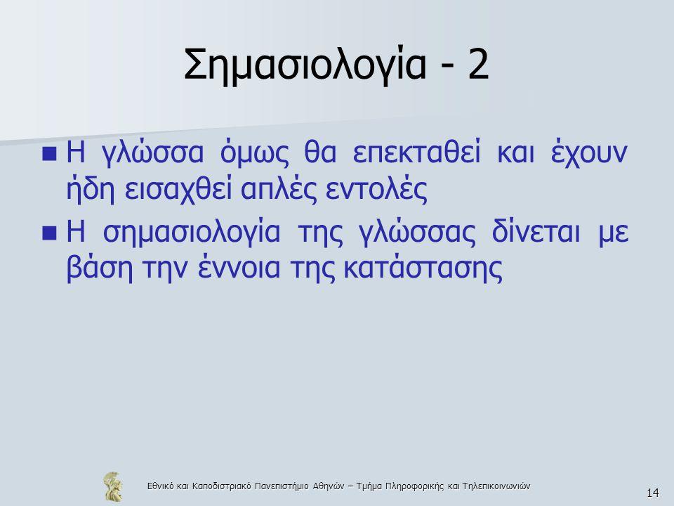Εθνικό και Καποδιστριακό Πανεπιστήμιο Αθηνών – Τμήμα Πληροφορικής και Τηλεπικοινωνιών 14 Σημασιολογία - 2 Η γλώσσα όμως θα επεκταθεί και έχουν ήδη εισαχθεί απλές εντολές Η σημασιολογία της γλώσσας δίνεται με βάση την έννοια της κατάστασης