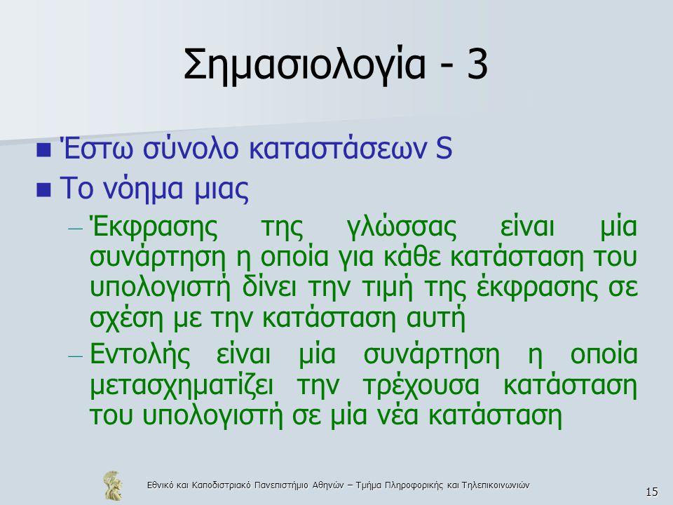 Εθνικό και Καποδιστριακό Πανεπιστήμιο Αθηνών – Τμήμα Πληροφορικής και Τηλεπικοινωνιών 15 Σημασιολογία - 3 Έστω σύνολο καταστάσεων S Το νόημα μιας – Έκφρασης της γλώσσας είναι μία συνάρτηση η οποία για κάθε κατάσταση του υπολογιστή δίνει την τιμή της έκφρασης σε σχέση με την κατάσταση αυτή – Εντολής είναι μία συνάρτηση η οποία μετασχηματίζει την τρέχουσα κατάσταση του υπολογιστή σε μία νέα κατάσταση