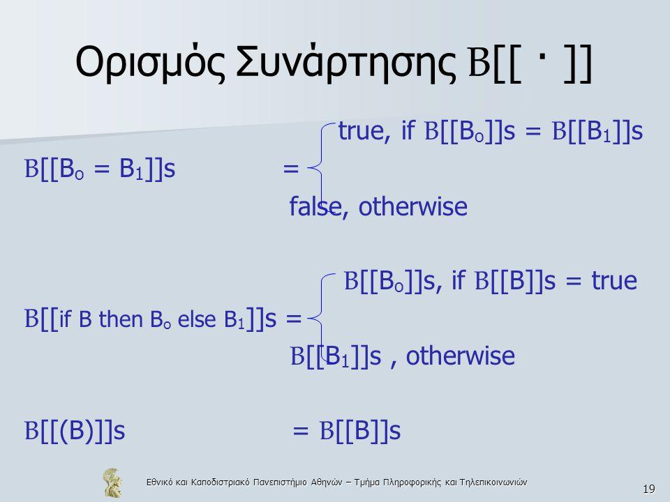 Εθνικό και Καποδιστριακό Πανεπιστήμιο Αθηνών – Τμήμα Πληροφορικής και Τηλεπικοινωνιών 19 Ορισμός Συνάρτησης Β [[ · ]] true, if B [[B o ]]s = B [[B 1 ]]s B [[B o = B 1 ]]s = false, otherwise B [[B o ]]s, if B [[B]]s = true B [[ if B then B o else B 1 ]]s = B [[B 1 ]]s, otherwise B [[(B)]]s= B [[B]]s