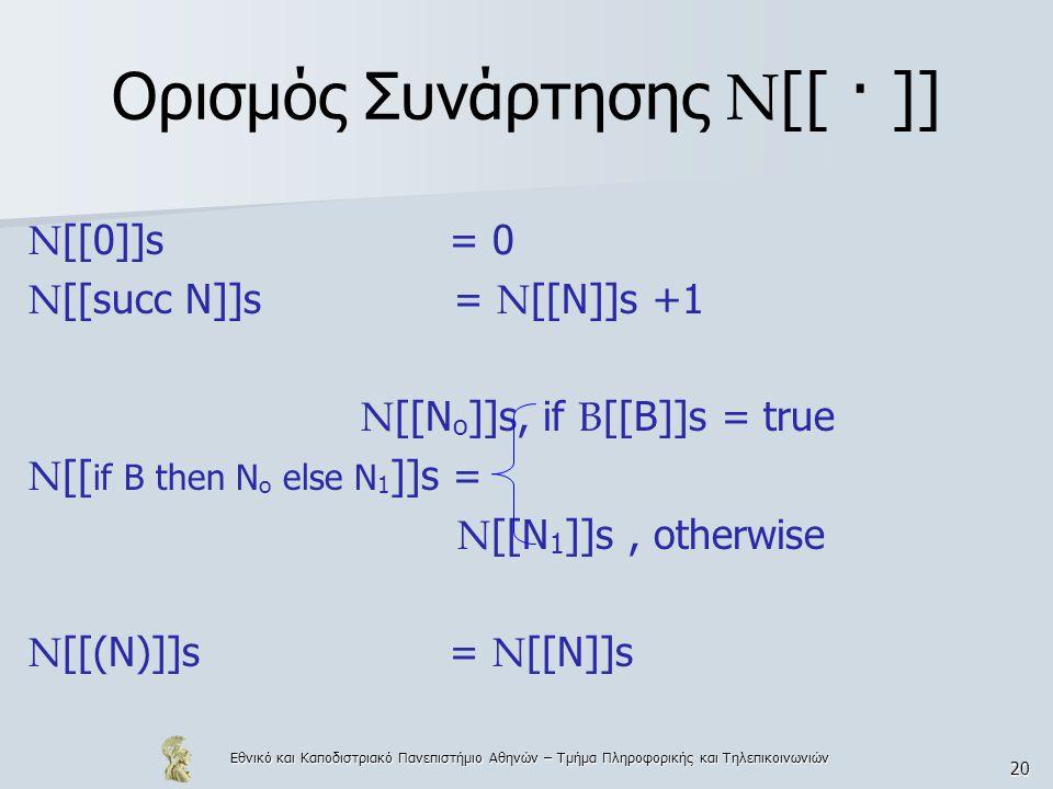 Εθνικό και Καποδιστριακό Πανεπιστήμιο Αθηνών – Τμήμα Πληροφορικής και Τηλεπικοινωνιών 20 Ορισμός Συνάρτησης N [[ · ]] N [[0]]s = 0 N [[succ N]]s = N [