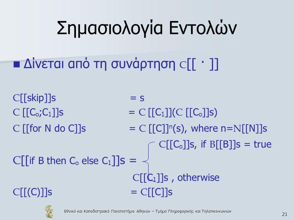 Εθνικό και Καποδιστριακό Πανεπιστήμιο Αθηνών – Τμήμα Πληροφορικής και Τηλεπικοινωνιών 21 Σημασιολογία Εντολών Δίνεται από τη συνάρτηση C [[ · ]] C [[skip]]s = s C [[C o ;C 1 ]]s = C [[C 1 ]]( C [[C o ]]s) C [[for N do C]]s = C [[C]] n (s), where n= N [[N]]s C [[C o ]]s, if B [[B]]s = true C [[ if B then C o else C 1 ]]s = C [[C 1 ]]s, otherwise C [[(C)]]s= C [[C]]s