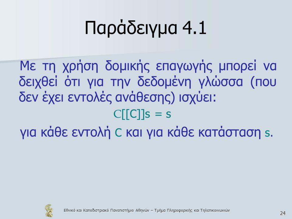 Εθνικό και Καποδιστριακό Πανεπιστήμιο Αθηνών – Τμήμα Πληροφορικής και Τηλεπικοινωνιών 24 Παράδειγμα 4.1 Με τη χρήση δομικής επαγωγής μπορεί να δειχθεί ότι για την δεδομένη γλώσσα (που δεν έχει εντολές ανάθεσης) ισχύει: C [[C]]s = s για κάθε εντολή C και για κάθε κατάσταση s.