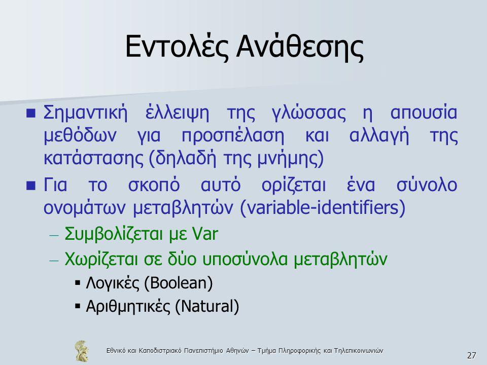 Εθνικό και Καποδιστριακό Πανεπιστήμιο Αθηνών – Τμήμα Πληροφορικής και Τηλεπικοινωνιών 27 Εντολές Ανάθεσης Σημαντική έλλειψη της γλώσσας η απουσία μεθόδων για προσπέλαση και αλλαγή της κατάστασης (δηλαδή της μνήμης) Για το σκοπό αυτό ορίζεται ένα σύνολο ονομάτων μεταβλητών (variable-identifiers) – Συμβολίζεται με Var – Χωρίζεται σε δύο υποσύνολα μεταβλητών  Λογικές (Boolean)  Αριθμητικές (Natural)