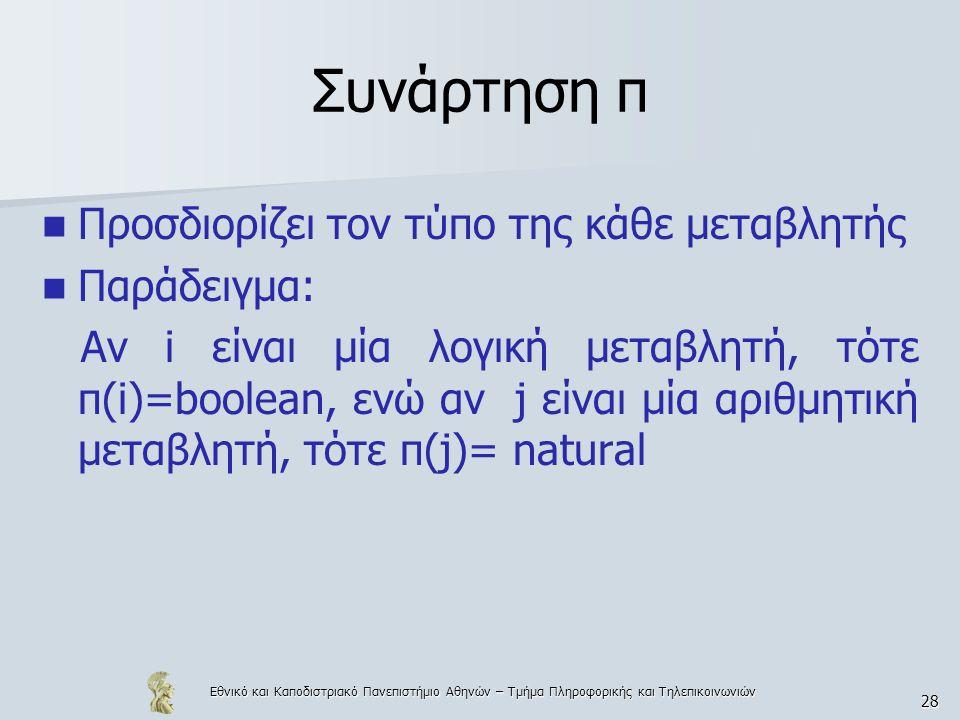 Εθνικό και Καποδιστριακό Πανεπιστήμιο Αθηνών – Τμήμα Πληροφορικής και Τηλεπικοινωνιών 28 Συνάρτηση π Προσδιορίζει τον τύπο της κάθε μεταβλητής Παράδειγμα: Αν i είναι μία λογική μεταβλητή, τότε π(i)=boolean, ενώ αν j είναι μία αριθμητική μεταβλητή, τότε π(j)= natural