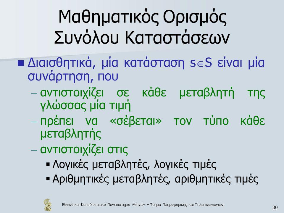 Εθνικό και Καποδιστριακό Πανεπιστήμιο Αθηνών – Τμήμα Πληροφορικής και Τηλεπικοινωνιών 30 Μαθηματικός Ορισμός Συνόλου Καταστάσεων Διαισθητικά, μία κατάσταση s  S είναι μία συνάρτηση, που – αντιστοιχίζει σε κάθε μεταβλητή της γλώσσας μία τιμή – πρέπει να «σέβεται» τον τύπο κάθε μεταβλητής – αντιστοιχίζει στις  Λογικές μεταβλητές, λογικές τιμές  Αριθμητικές μεταβλητές, αριθμητικές τιμές