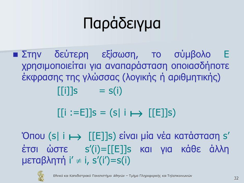 Εθνικό και Καποδιστριακό Πανεπιστήμιο Αθηνών – Τμήμα Πληροφορικής και Τηλεπικοινωνιών 32 Παράδειγμα Στην δεύτερη εξίσωση, το σύμβολο Ε χρησιμοποιείται για αναπαράσταση οποιασδήποτε έκφρασης της γλώσσας (λογικής ή αριθμητικής) [[i]]s = s(i) [[i :=E]]s = (s| i ↦ [[E]]s) Όπου (s| i ↦ [[E]]s) είναι μία νέα κατάσταση s' έτσι ώστε s'(i)=[[E]]s και για κάθε άλλη μεταβλητή i'  i, s'(i')=s(i)
