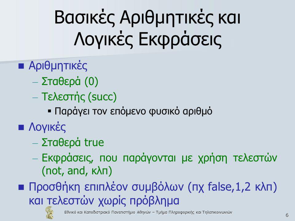 Εθνικό και Καποδιστριακό Πανεπιστήμιο Αθηνών – Τμήμα Πληροφορικής και Τηλεπικοινωνιών 6 Βασικές Αριθμητικές και Λογικές Εκφράσεις Αριθμητικές – Σταθερά (0) – Τελεστής (succ)  Παράγει τον επόμενο φυσικό αριθμό Λογικές – Σταθερά true – Εκφράσεις, που παράγονται με χρήση τελεστών (not, and, κλπ) Προσθήκη επιπλέον συμβόλων (πχ false,1,2 κλπ) και τελεστών χωρίς πρόβλημα