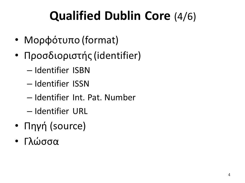 Qualified Dublin Core (4/6) Μορφότυπο (format) Προσδιοριστής (identifier) – Identifier ISBN – Identifier ISSN – Identifier Int. Pat. Number – Identifi
