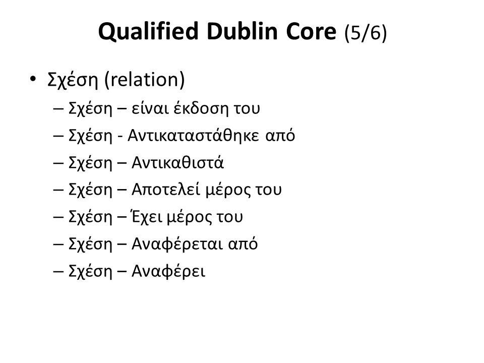 Qualified Dublin Core (5/6) Σχέση (relation) – Σχέση – είναι έκδοση του – Σχέση - Αντικαταστάθηκε από – Σχέση – Αντικαθιστά – Σχέση – Αποτελεί μέρος τ