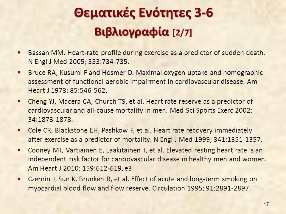 Θεματικές Ενότητες 3-6 Βιβλιογραφία Θεματικές Ενότητες 3-6 Βιβλιογραφία [2/7]  Bassan MM. Heart-rate profile during exercise as a predictor of sudden
