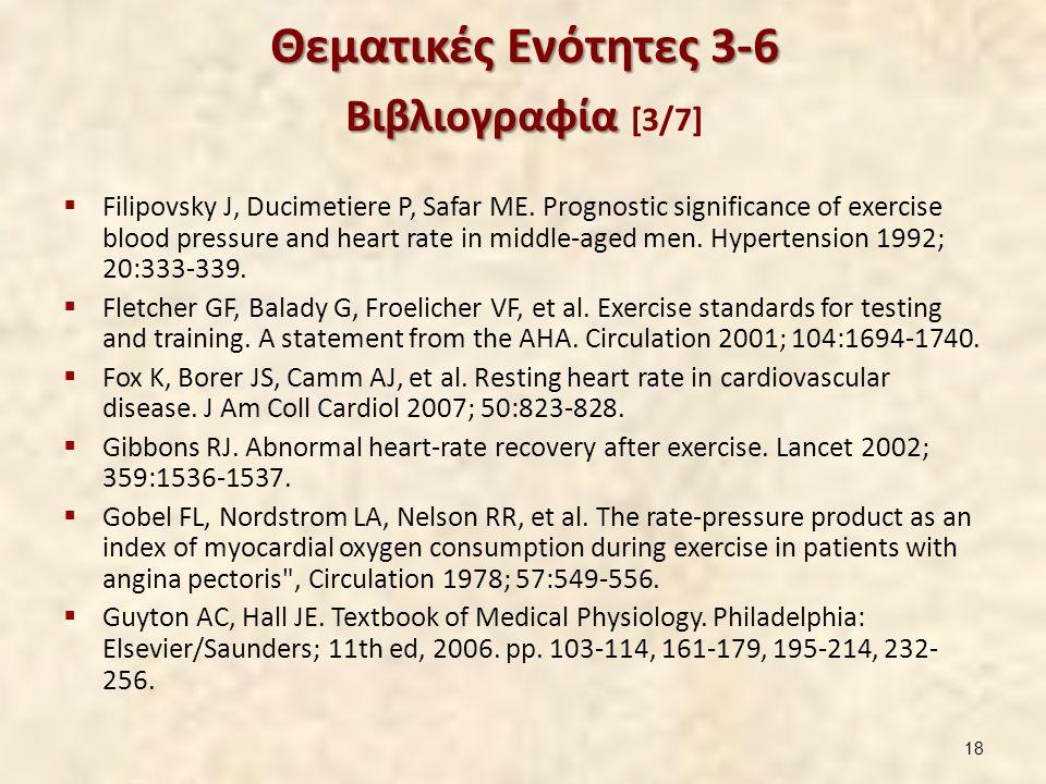 Θεματικές Ενότητες 3-6 Βιβλιογραφία Θεματικές Ενότητες 3-6 Βιβλιογραφία [3/7]  Filipovsky J, Ducimetiere P, Safar ME. Prognostic significance of exer