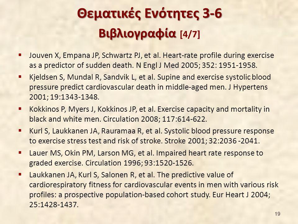 Θεματικές Ενότητες 3-6 Βιβλιογραφία Θεματικές Ενότητες 3-6 Βιβλιογραφία [4/7]  Jouven X, Empana JP, Schwartz PJ, et al. Heart-rate profile during exe