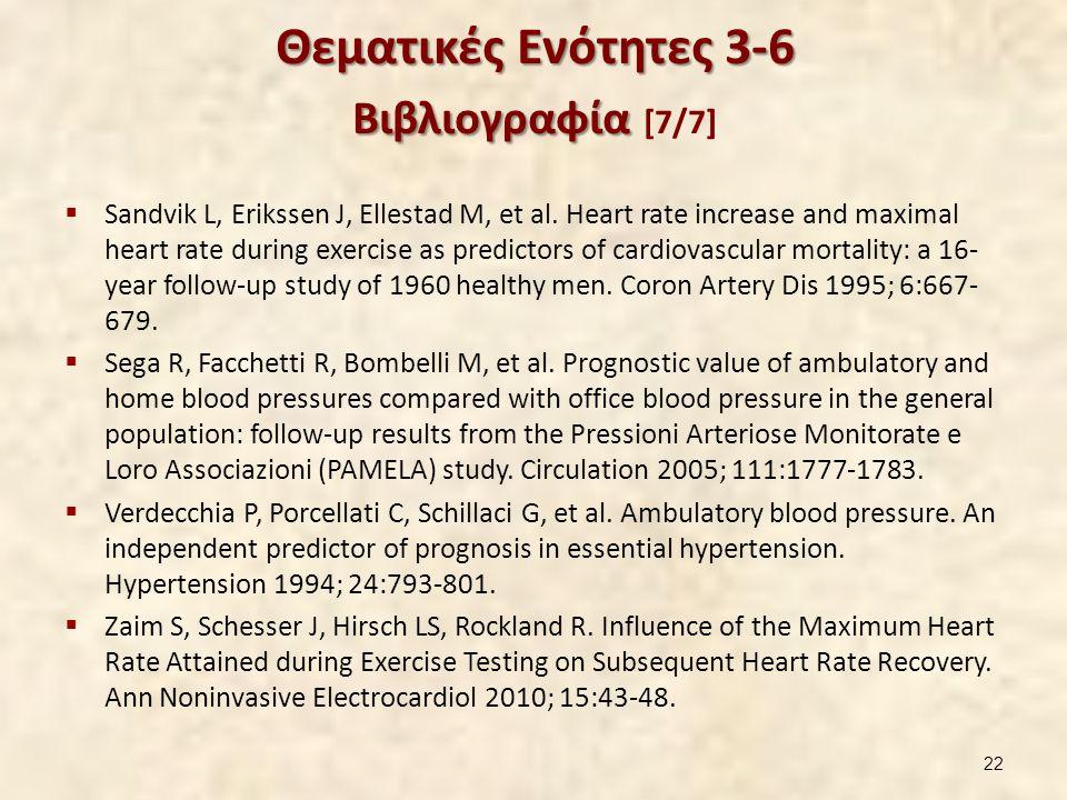 Θεματικές Ενότητες 3-6 Βιβλιογραφία Θεματικές Ενότητες 3-6 Βιβλιογραφία [7/7]  Sandvik L, Erikssen J, Ellestad M, et al. Heart rate increase and maxi