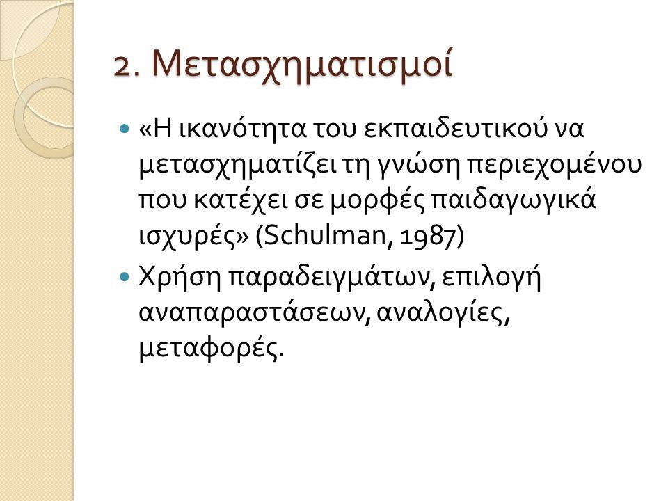 2. Μετασχηματισμοί « Η ικανότητα του εκπαιδευτικού να μετασχηματίζει τη γνώση περιεχομένου που κατέχει σε μορφές παιδαγωγικά ισχυρές » ( Schulman, 198