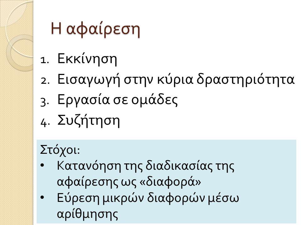 Η αφαίρεση 1. Εκκίνηση 2. Εισαγωγή στην κύρια δραστηριότητα 3. Εργασία σε ομάδες 4. Συζήτηση Στόχοι : Κατανόηση της διαδικασίας της αφαίρεσης ως « δια