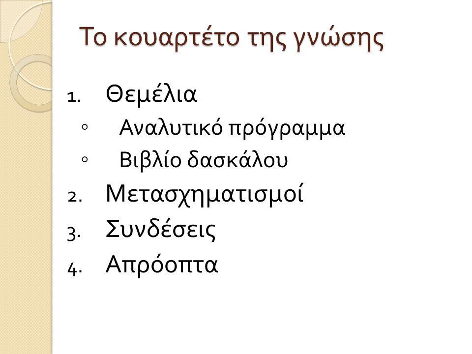 Το κουαρτέτο της γνώσης 1. Θεμέλια ◦ Αναλυτικό πρόγραμμα ◦ Βιβλίο δασκάλου 2. Μετασχηματισμοί 3. Συνδέσεις 4. Απρόοπτα