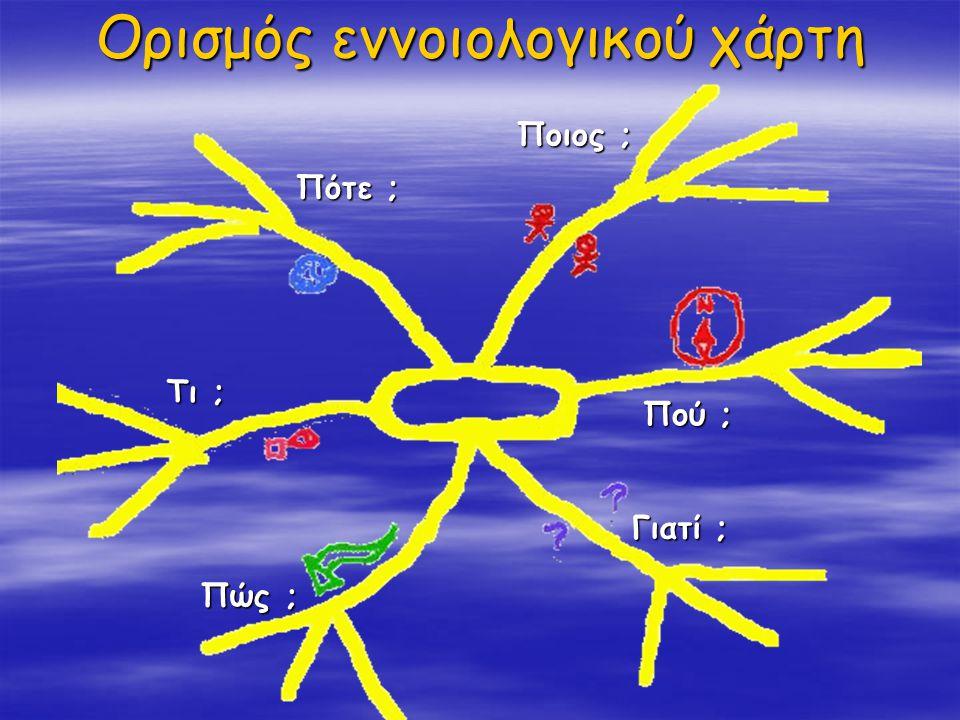 Ορισμός εννοιολογικού χάρτη Ποιος ; Πότε ; Πού ; Γιατί ; Πώς ; Τι ;