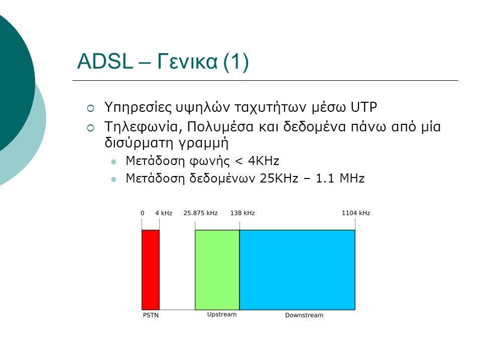 ADSL – Γενικα (1)  Υπηρεσίες υψηλών ταχυτήτων μέσω UTP  Τηλεφωνία, Πολυμέσα και δεδομένα πάνω από μία δισύρματη γραμμή Μετάδοση φωνής < 4KHz Μετάδοσ