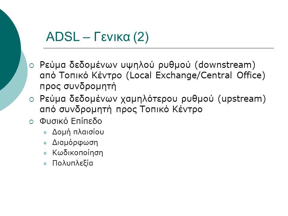 ADSL – Γενικα (2)  Ρεύμα δεδομένων υψηλού ρυθμού (downstream) από Τοπικό Κέντρο (Local Exchange/Central Office) προς συνδρομητή  Ρεύμα δεδομένων χαμ