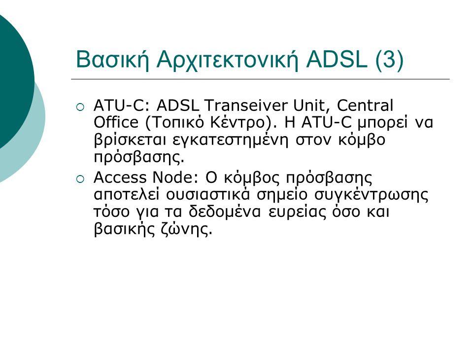 Βασική Αρχιτεκτονική ADSL (3)  ATU-C: ADSL Transeiver Unit, Central Office (Τοπικό Κέντρο). Η ATU-C μπορεί να βρίσκεται εγκατεστημένη στον κόμβο πρόσ