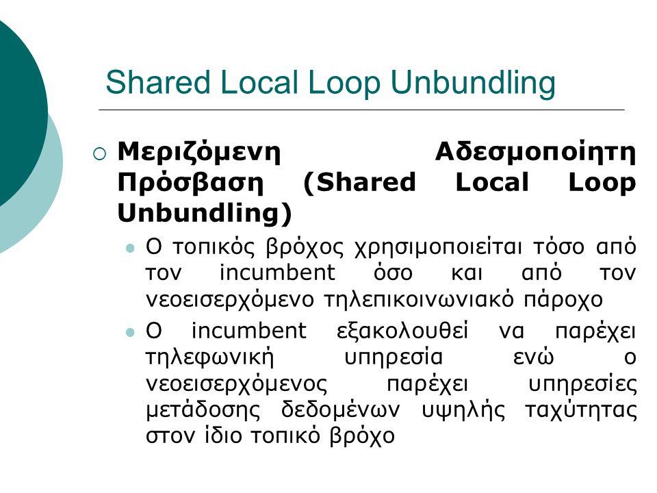 Shared Local Loop Unbundling  Μεριζόμενη Αδεσμοποίητη Πρόσβαση (Shared Local Loop Unbundling) Ο τοπικός βρόχος χρησιμοποιείται τόσο από τον incumbent