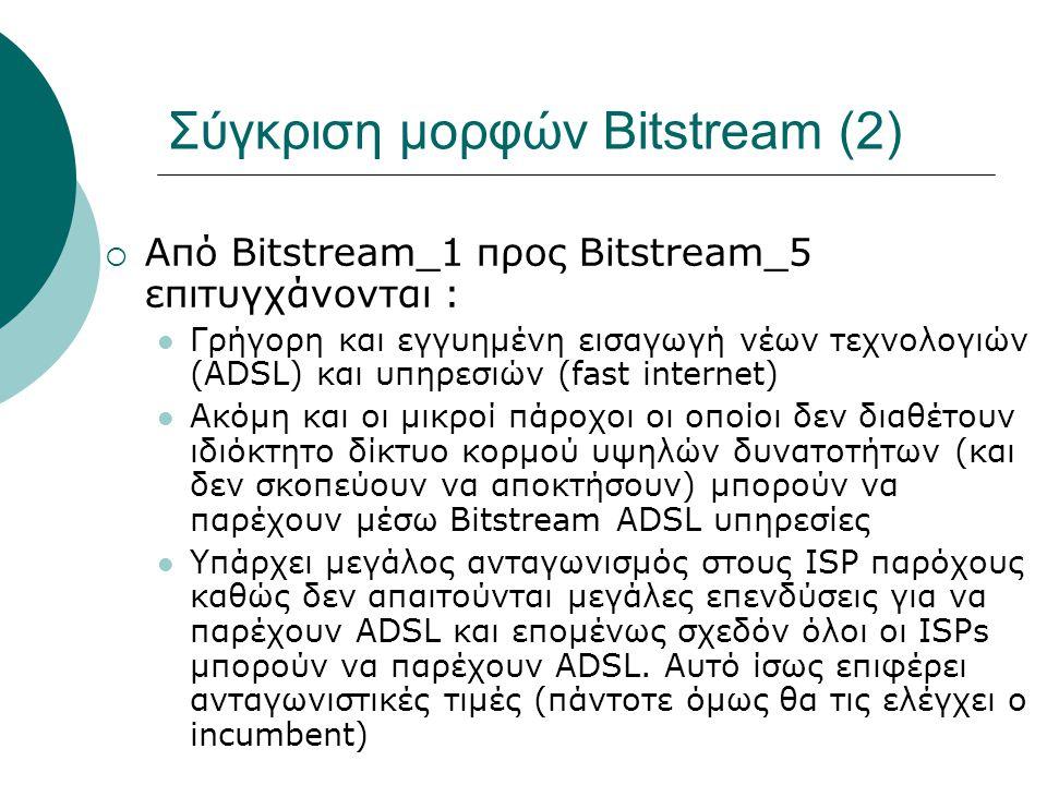 Σύγκριση μορφών Bitstream (2)  Από Bitstream_1 προς Βitstream_5 επιτυγχάνονται : Γρήγορη και εγγυημένη εισαγωγή νέων τεχνολογιών (ADSL) και υπηρεσιών