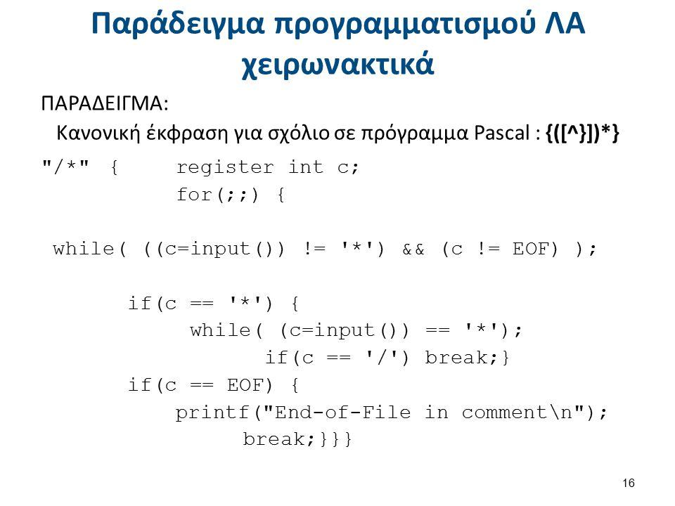 Παράδειγμα προγραμματισμού ΛΑ χειρωνακτικά ΠΑΡΑΔΕΙΓΜΑ: Κανονική έκφραση για σχόλιο σε πρόγραμμα Pascal : {([^}])*}