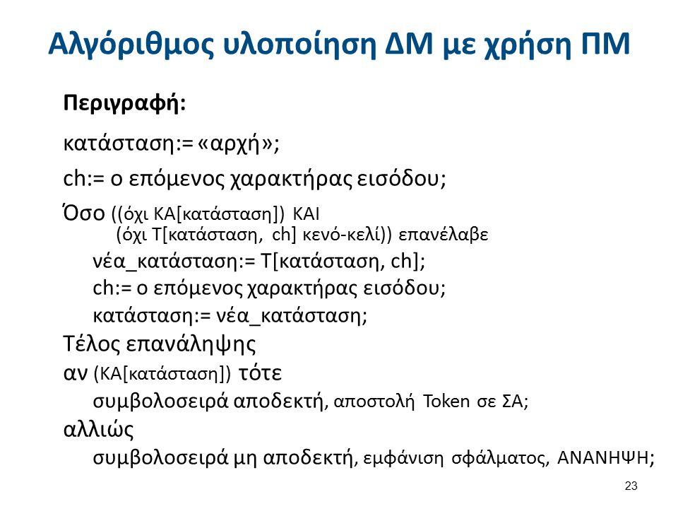 Αλγόριθμος υλοποίηση ΔΜ με χρήση ΠΜ Περιγραφή: κατάσταση:= «αρχή»; ch:= ο επόμενος χαρακτήρας εισόδου; Όσο ((όχι ΚΑ[κατάσταση]) ΚΑΙ (όχι Τ[κατάσταση,