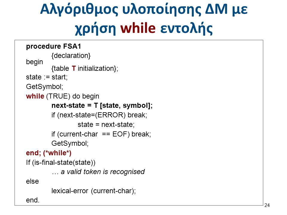 Αλγόριθμος υλοποίησης ΔΜ με χρήση while εντολής 24 procedure FSA1 {declaration} begin {table T initialization}; state := start; GetSymbol; while (TRUE