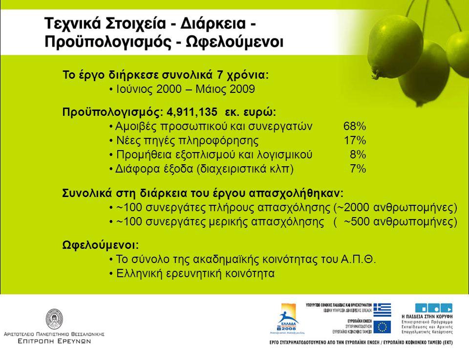 Το έργο διήρκεσε συνολικά 7 χρόνια: Ιούνιος 2000 – Μάιος 2009 Προϋπολογισμός: 4,911,135 εκ. ευρώ: Αμοιβές προσωπικού και συνεργατών68% Νέες πηγές πληρ